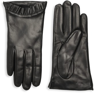 Portolano Pleated-Trim Leather Gloves
