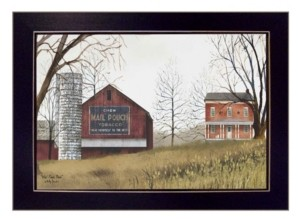 "Trendy Décor 4U Mail Pouch Barn By Billy Jacobs, Printed Wall Art, Ready to hang, Black Frame, 18"" x 14"""
