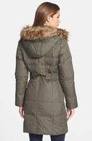Larry Levine Faux Fur Trim Down & Feather Coat
