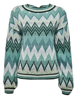 Dorothy Perkins Womens Vila Green Knit Jumper With Wave Pattern, Green