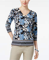 Charter Club Floral-Print Border-Trim Top, Created for Macy's