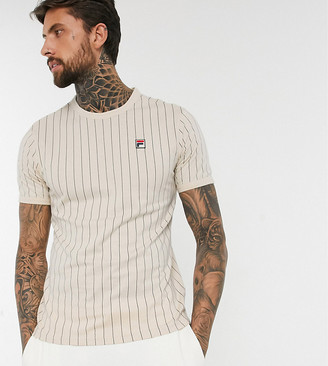 Fila Guilo striped t-shirt in cream exclusive at ASOS