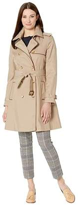 Lauren Ralph Lauren Double Trench with Faux Leather Trim (Sand) Women's Clothing