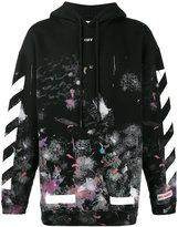 Off-White diagonal stripe print galaxy hoodie