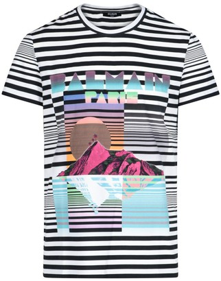Balmain Striped Graphic Logo T-Shirt