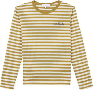 Maison Labiche Paris - Bronze Striped Lettering Long Sleeves T Shirt - S | bronze - Bronze
