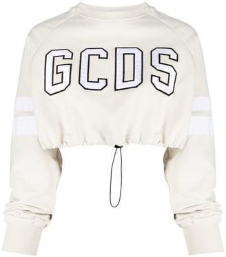 GCDS Cropped Embroidered-Logo Sweatshirt