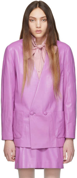 Gucci Purple Leather Oversize Jacket