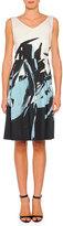 Piazza Sempione V-Neck Brushstroke-Print A-line Dress, Black Multi