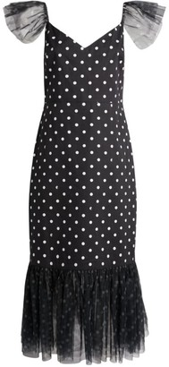 STAUD Marwa Polka-Dot Dress