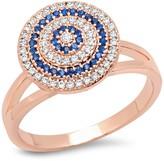 Simulated Diamond & Blue Spinel Swirl Ring