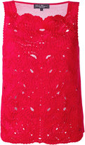 Salvatore Ferragamo lace embroidery top - women - Cotton/Viscose - S