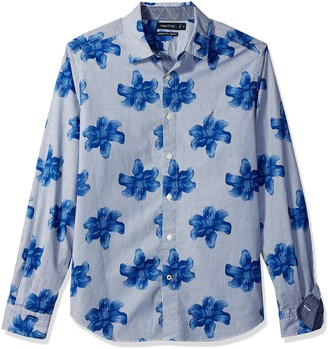 Nautica Men's Classic Fit Stretch Print Long Sleeve Button Down Shirt