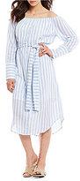 Moon River Off-the-Shoulder Poplin Shirt Dress