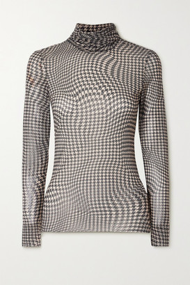 Ganni Puppytooth Stretch-mesh Turtleneck Top - Brown