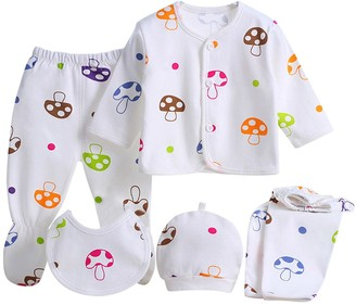 Happiness 8899 Wocharm Newborn Baby Cotton T-Shirt Pants Hat Suits Infant Clothes 5pcs or 8pcs (Mushroom)