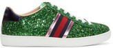 Gucci Green Glitter Ace Sneakers