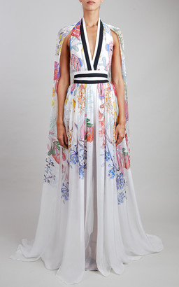 Elie Saab Printed Silk Chiffon Maxi Dress
