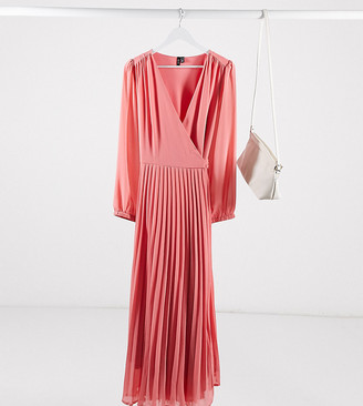 Vero Moda Curve pleated wrap maxi dress in pink