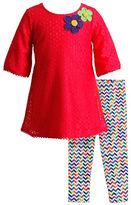 Sweet Heart Rose Sweetheart Rose Girls 2-6x 2-Piece Crochet Dress and Woven Leggings Set