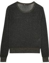 Maje Metallic Ribbed-Knit Top