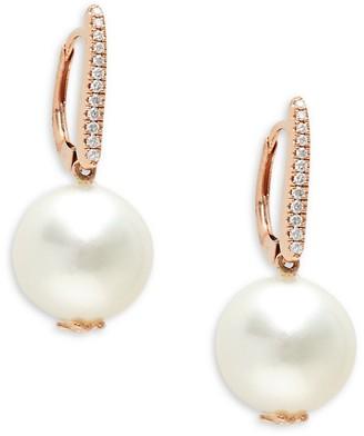 Tara Pearls 14K Rose Gold, South Sea Pearl & Diamond Earrings