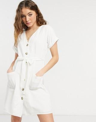 Figleaves san sebastian button through beach dress in white