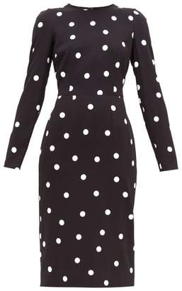 Dolce & Gabbana Cady Polka Dot Crepe Knee Length Dress - Womens - Black White