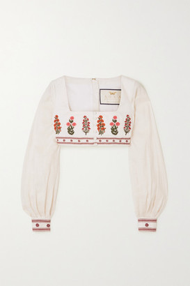 Agua Bendita Pera Cropped Embroidered Linen Top - White