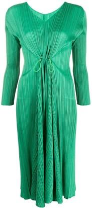 Pleats Please Issey Miyake ruched long-sleeve midi dress