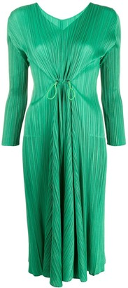 Pleats Please Issey Miyake Ruched Long-Sleeve Midi Dress