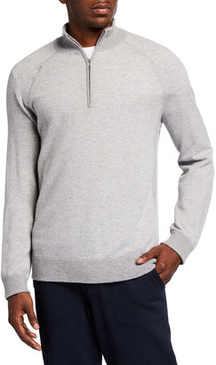 Vince Men's Birdseye Quarter-Zip Pullover Sweater