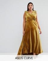 Asos RED CARPET Velvet Drape Maxi Dress