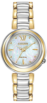 Citizen EM0337-56D Women's Sunrise Mother of Pearl Two Tone Eco-Drive Stainless Steel Bracelet Strap Watch, Gold/Silver