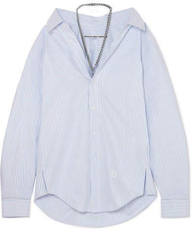 Alexander Wang Chain-embellished Striped Cotton-poplin Shirt - Light blue