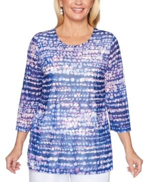 Alfred Dunner Classics Printed Rhinestone-Embellished Top