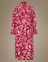 Marks and Spencer Red Woodland Print Shimmer Dressing Gown