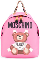 Moschino toy paper bear print backpack - women - Calf Leather - One Size