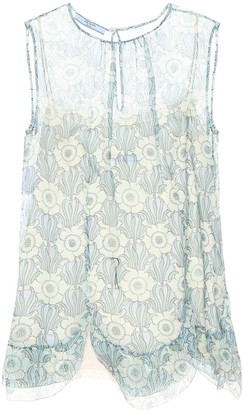 Prada Printed silk sleeveless top