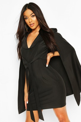 boohoo Cape Sleeve Blazer Bodycon Dress