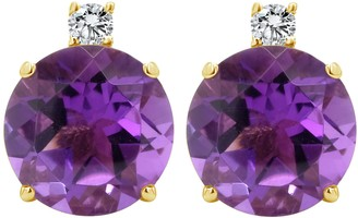14K 8mm Round Gemstone & Diamond Accent Stud Earrings