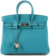 Hermes Turquoise Clemence Birkin 25cm Bag