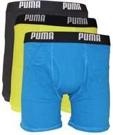 Puma Men's 3 Pack 100% Cotton Boxer Brief, Blue/Yellow, X-Large