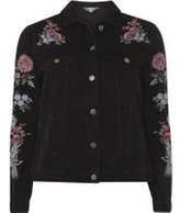 Dorothy Perkins Womens Washed Black Embroidered Denim Jacket- Black