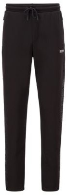 HUGO BOSS Interlock Jersey Tracksuit Bottoms With Typographical Print Side Seams - Black