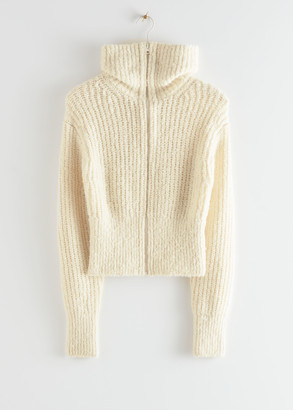 And other stories Wide Collar Knit Zip Cardigan