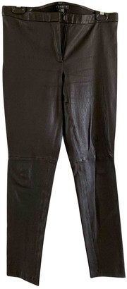 Theory Black Leather Trousers