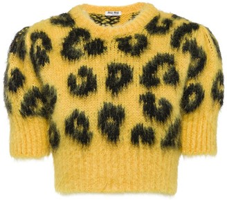 Miu Miu Leopard Intarsia Knit Cropped Sweater
