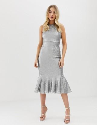 Club L London all over sequin peplum midi dress-Silver