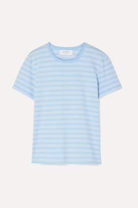 La Ligne Classique Striped Stretch Cotton-jersey T-shirt - Light blue